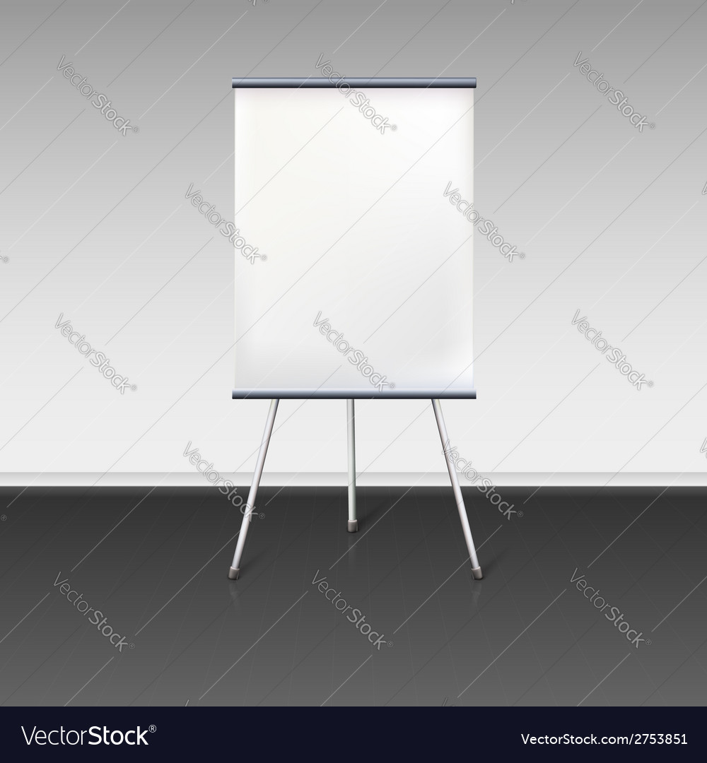 Blank flipchart stands near the wall vector | Price: 1 Credit (USD $1)