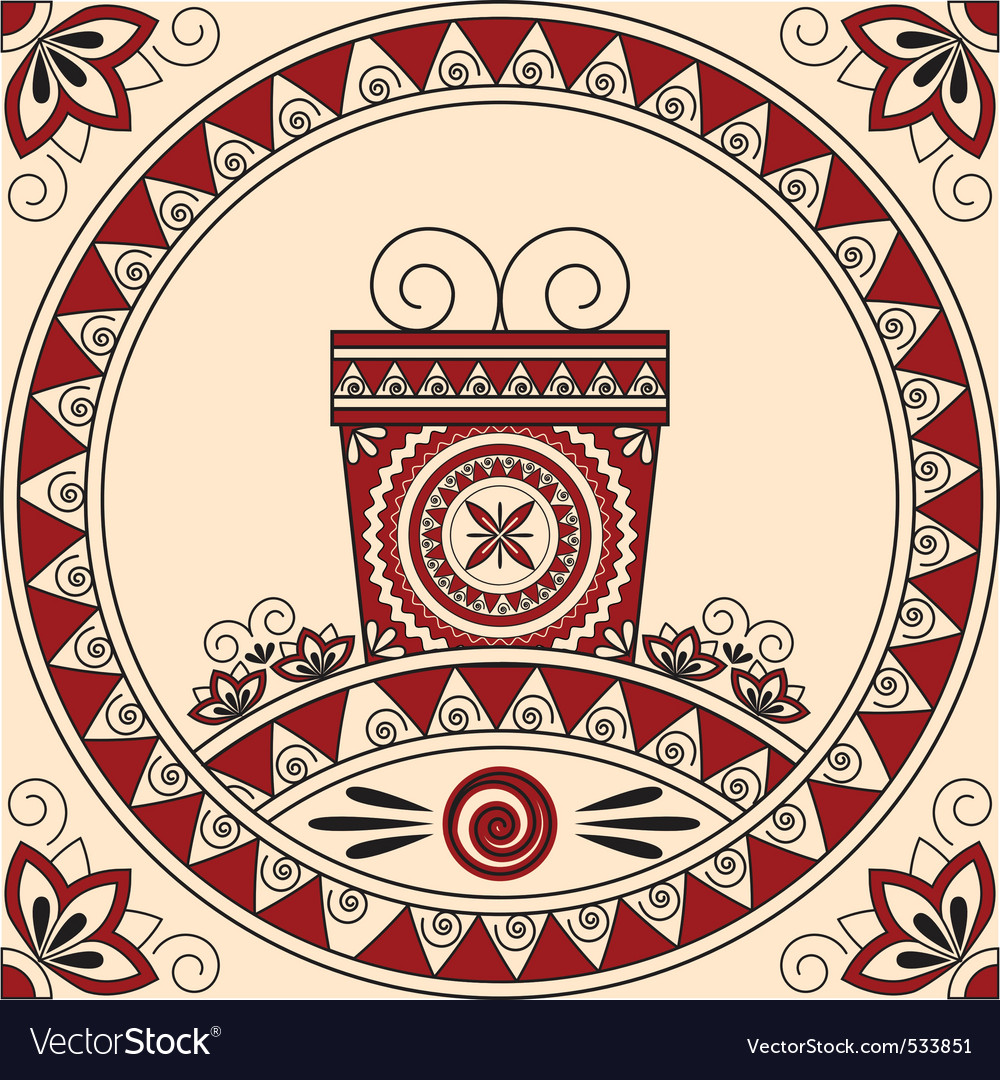 Card with a gift and patterns in ethnic style vector | Price: 1 Credit (USD $1)