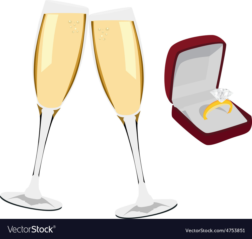 Champagne and jewelry box vector | Price: 1 Credit (USD $1)