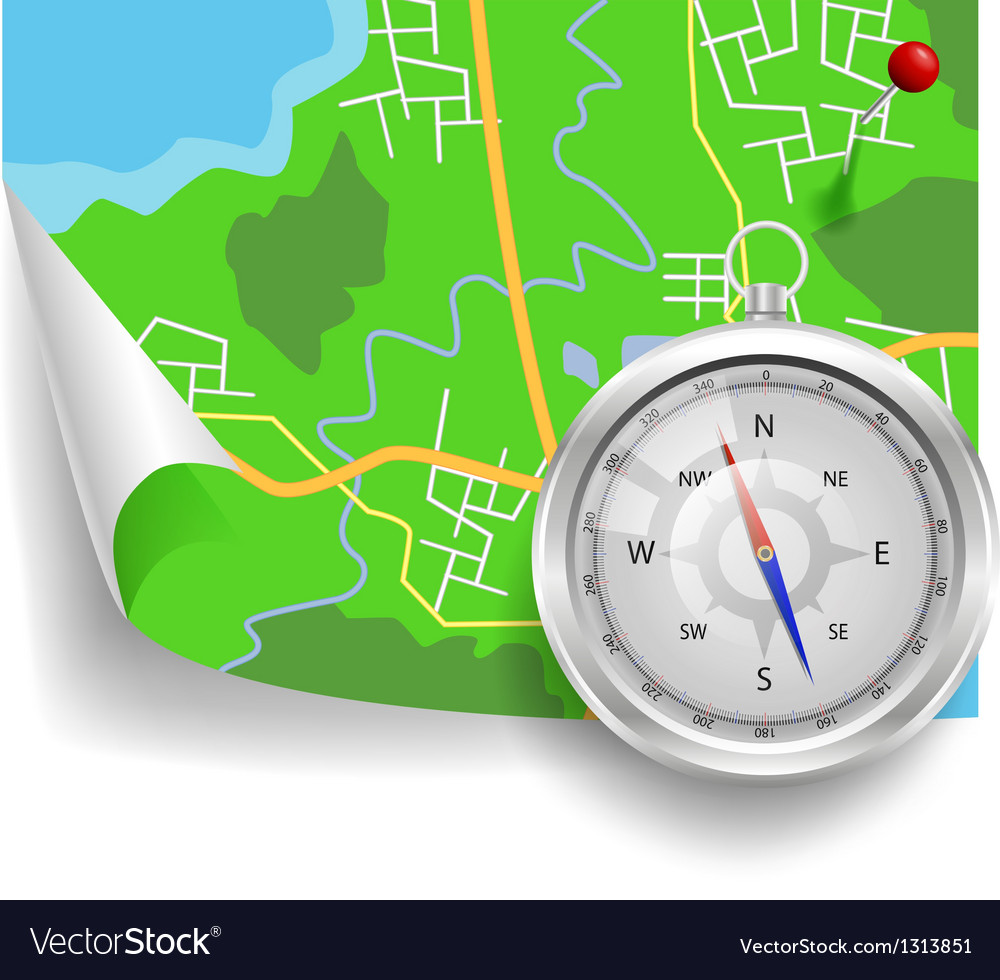 Compass and map vector | Price: 3 Credit (USD $3)