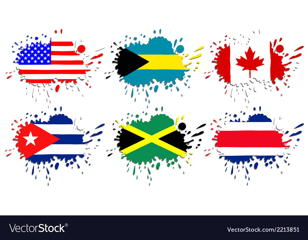 Flags of north america as spots vector | Price: 1 Credit (USD $1)