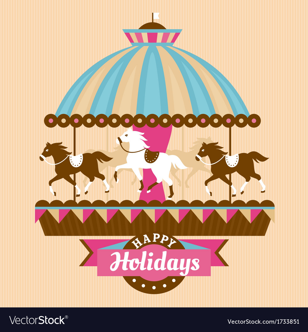 Greeting card with carousel vector | Price: 1 Credit (USD $1)