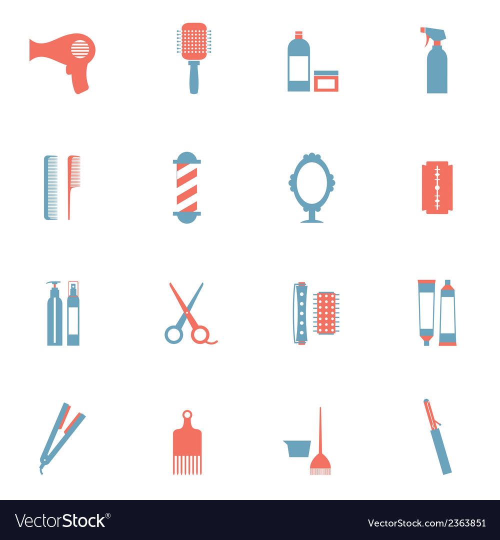 Hairdressing icons set vector | Price: 1 Credit (USD $1)