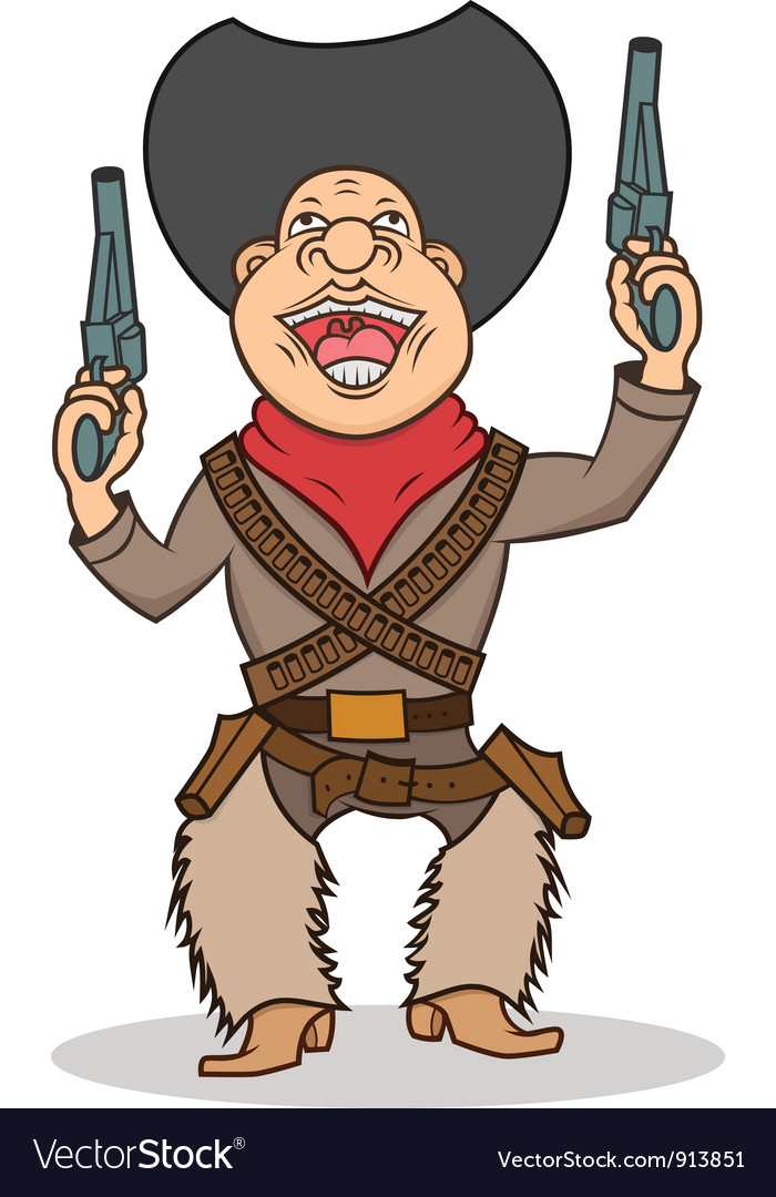Happy cartoon cowboy with two guns vector | Price: 3 Credit (USD $3)