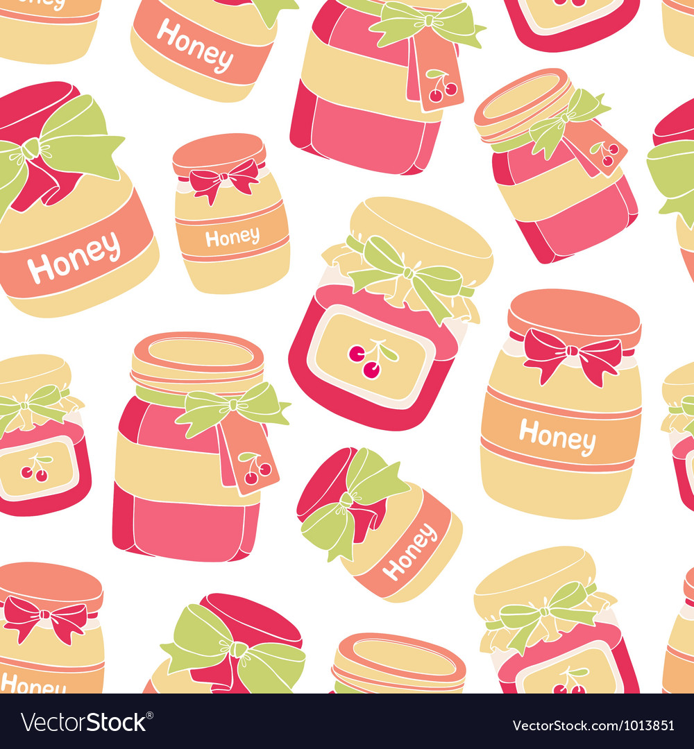 Jars of cherry jam and honey seamless pattern vector | Price: 1 Credit (USD $1)