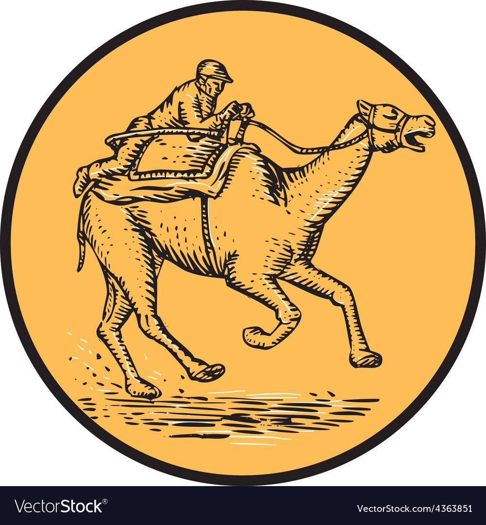 Jockey camel racing circle etching vector | Price: 1 Credit (USD $1)