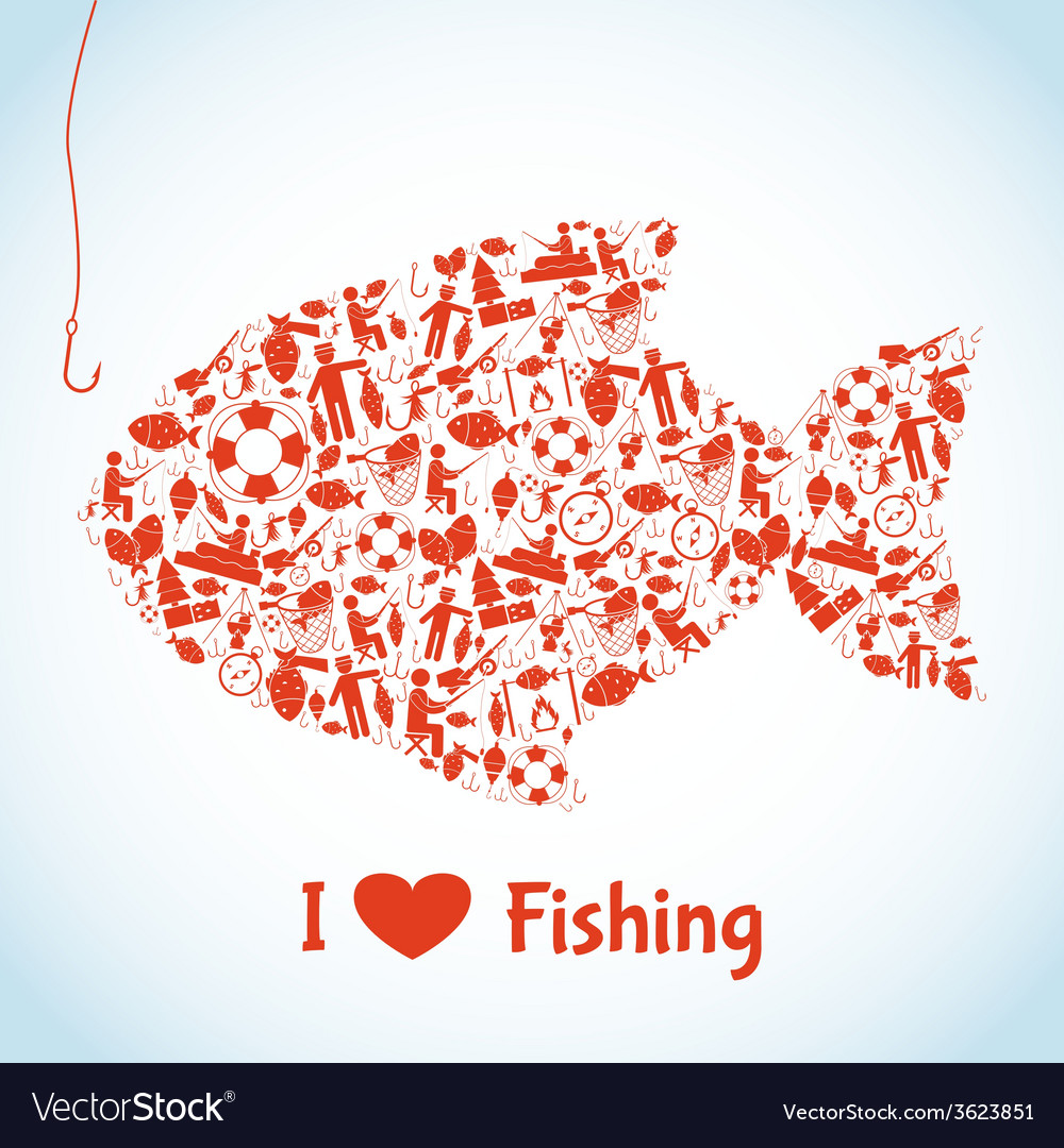 Love fishing concept vector | Price: 1 Credit (USD $1)
