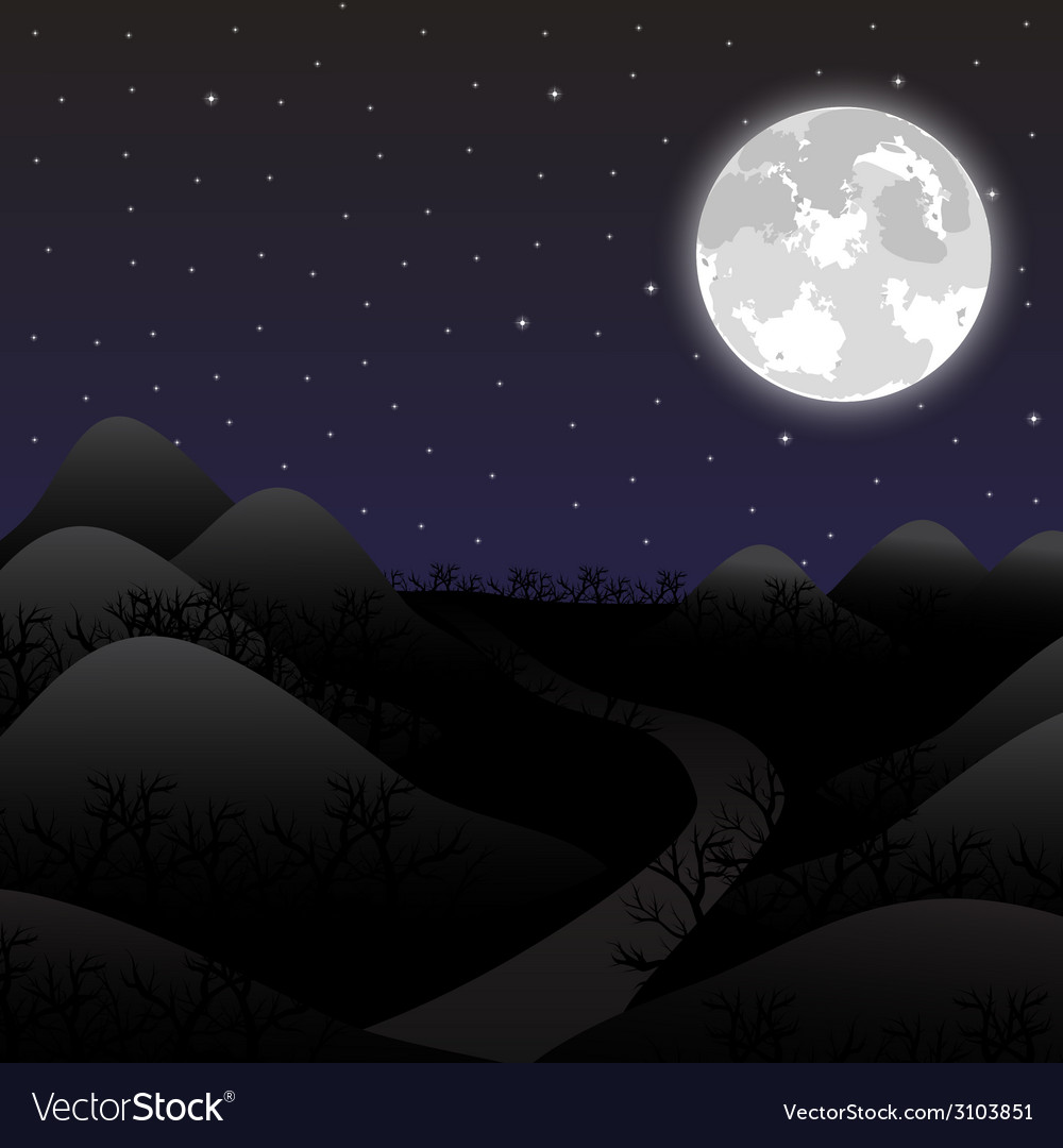 Night landscape in the full moon vector | Price: 1 Credit (USD $1)