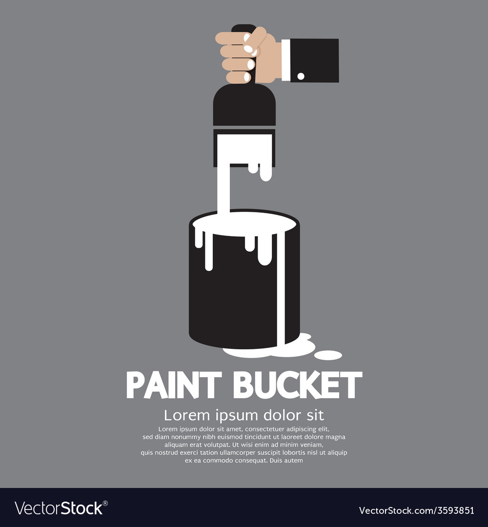 Paint bucket with paintbrush in hand vector | Price: 1 Credit (USD $1)