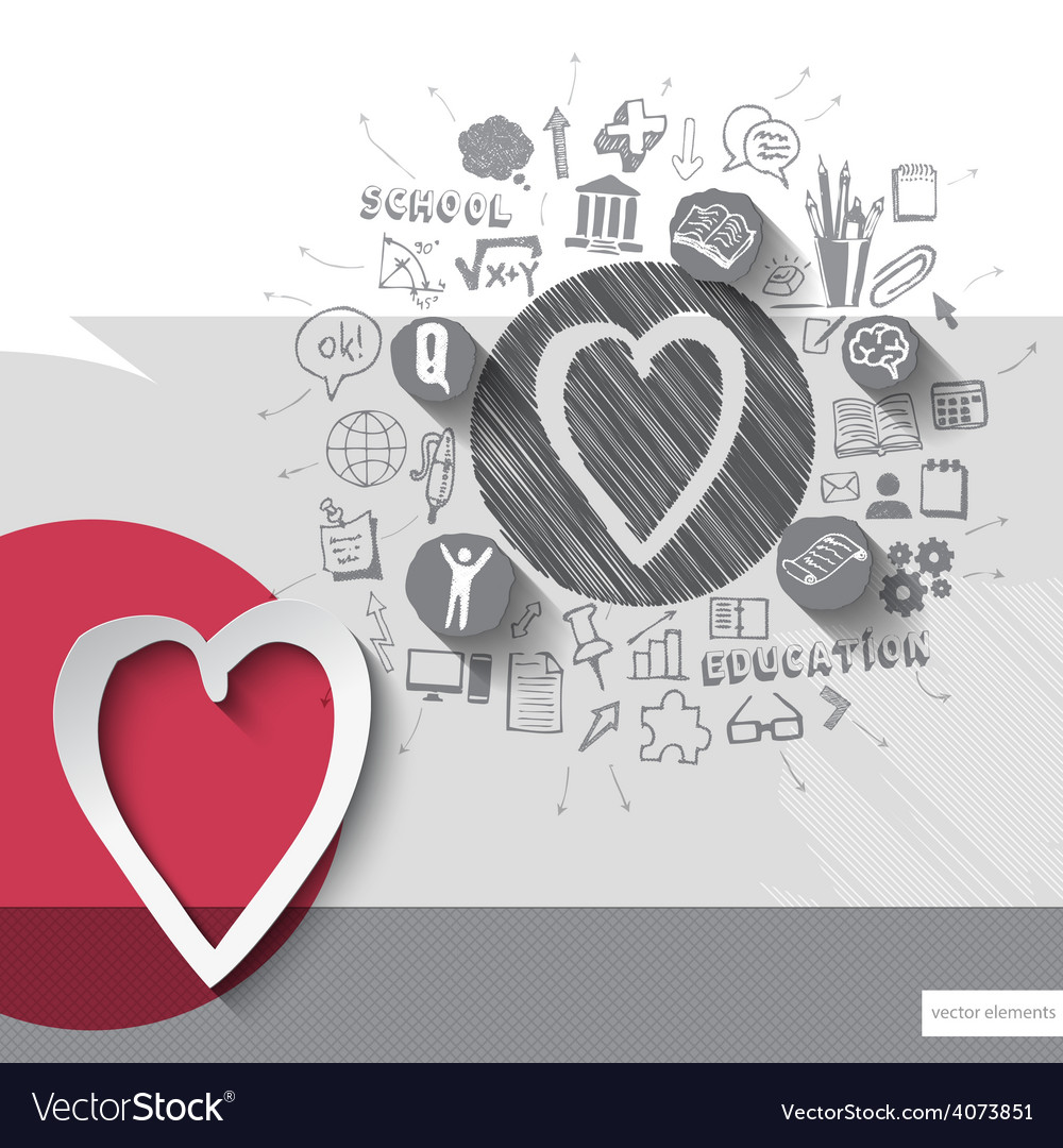 Paper and hand drawn heart emblem with icons vector | Price: 1 Credit (USD $1)