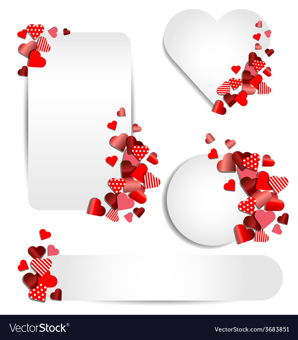 Set of heart frame for valentine day vector | Price: 1 Credit (USD $1)