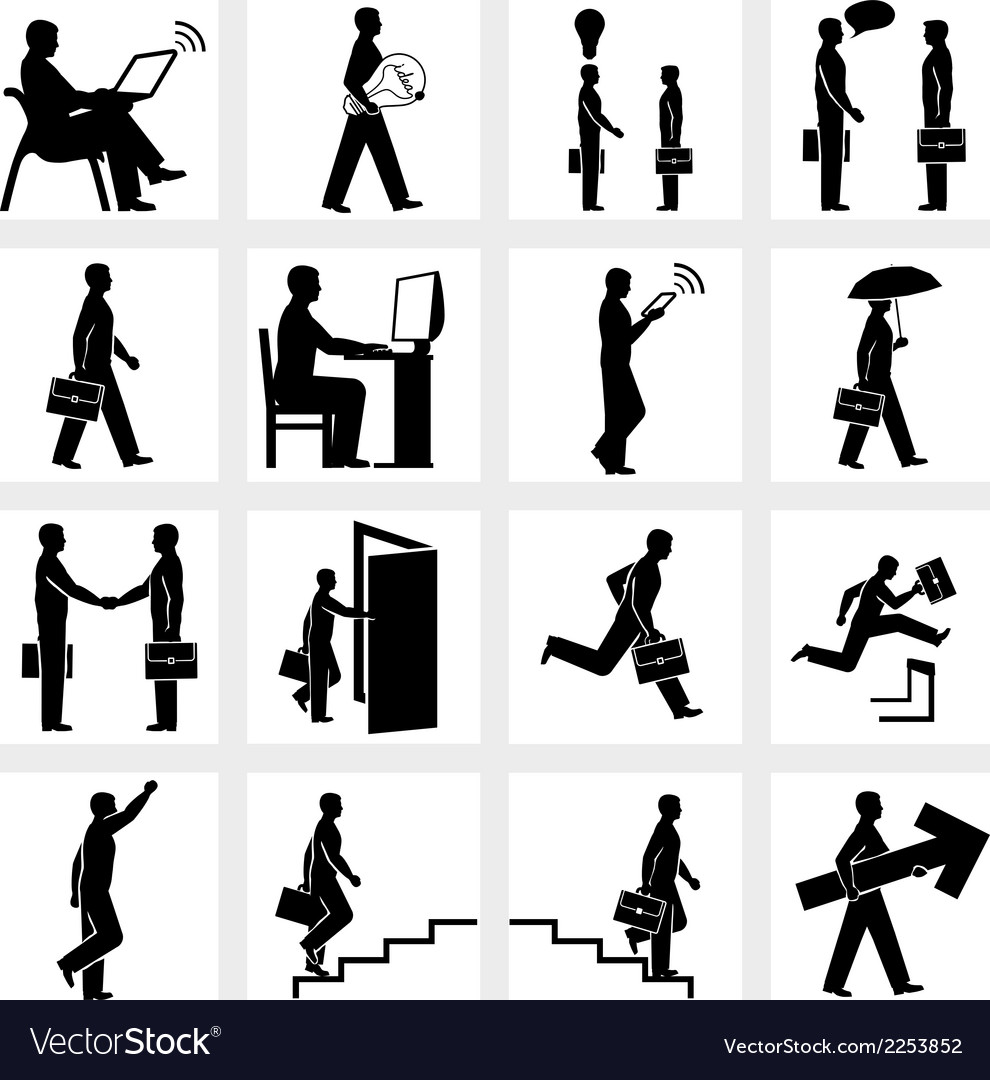 Business people silhouettes vector | Price: 1 Credit (USD $1)