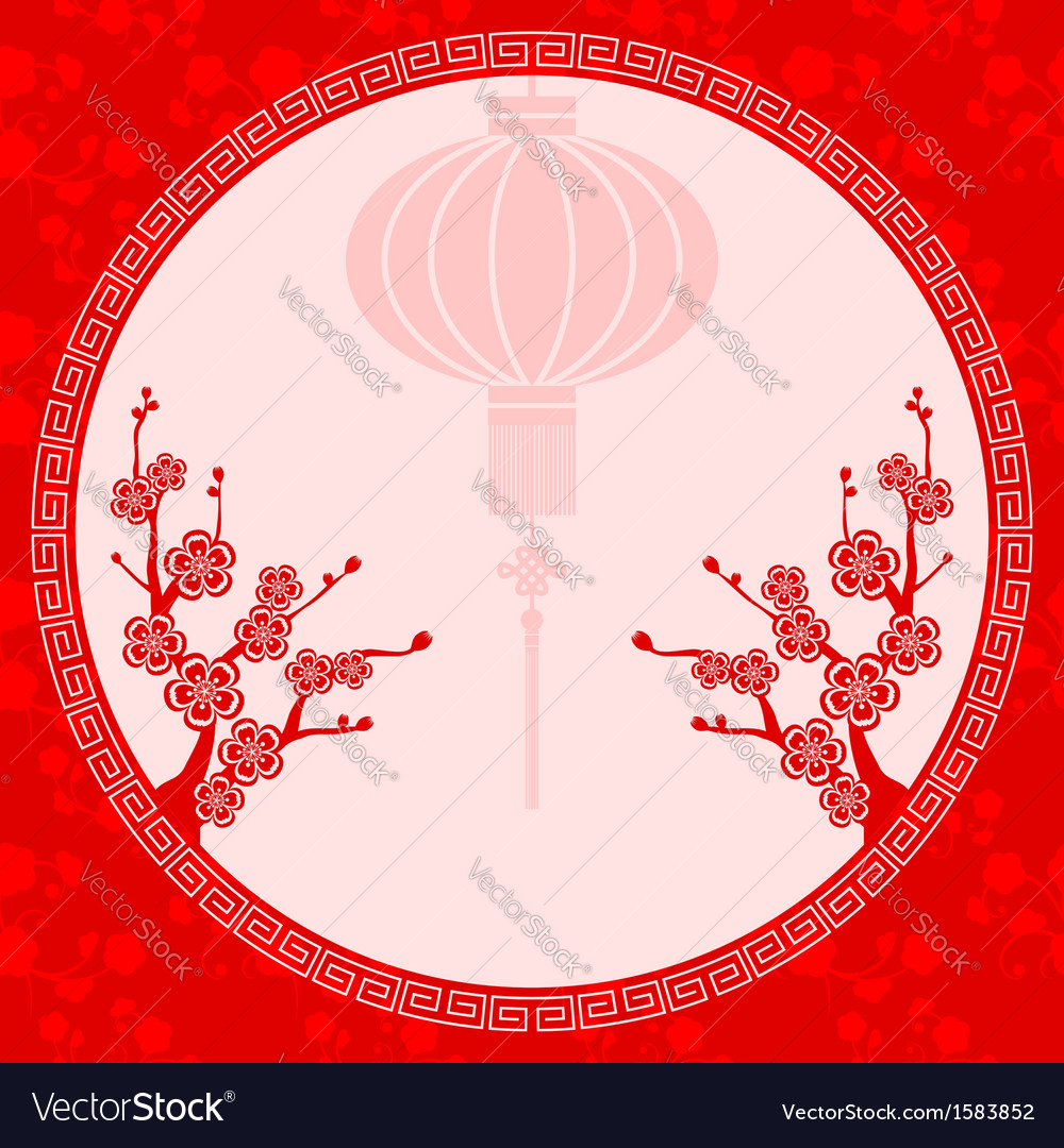 Chinese lantern cherry blossom vector | Price: 1 Credit (USD $1)