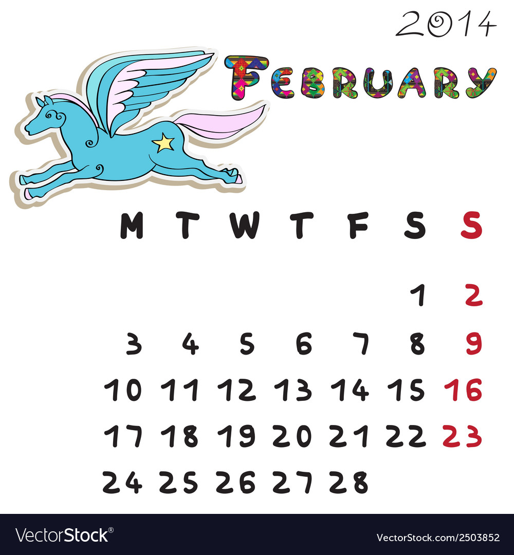 Color horse calendar 2014 february vector | Price: 1 Credit (USD $1)