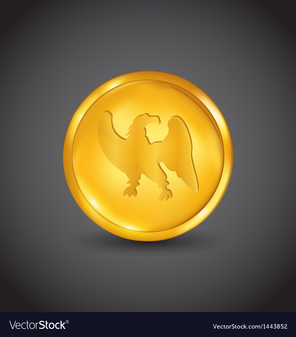 Golden coin with eagle vector | Price: 1 Credit (USD $1)