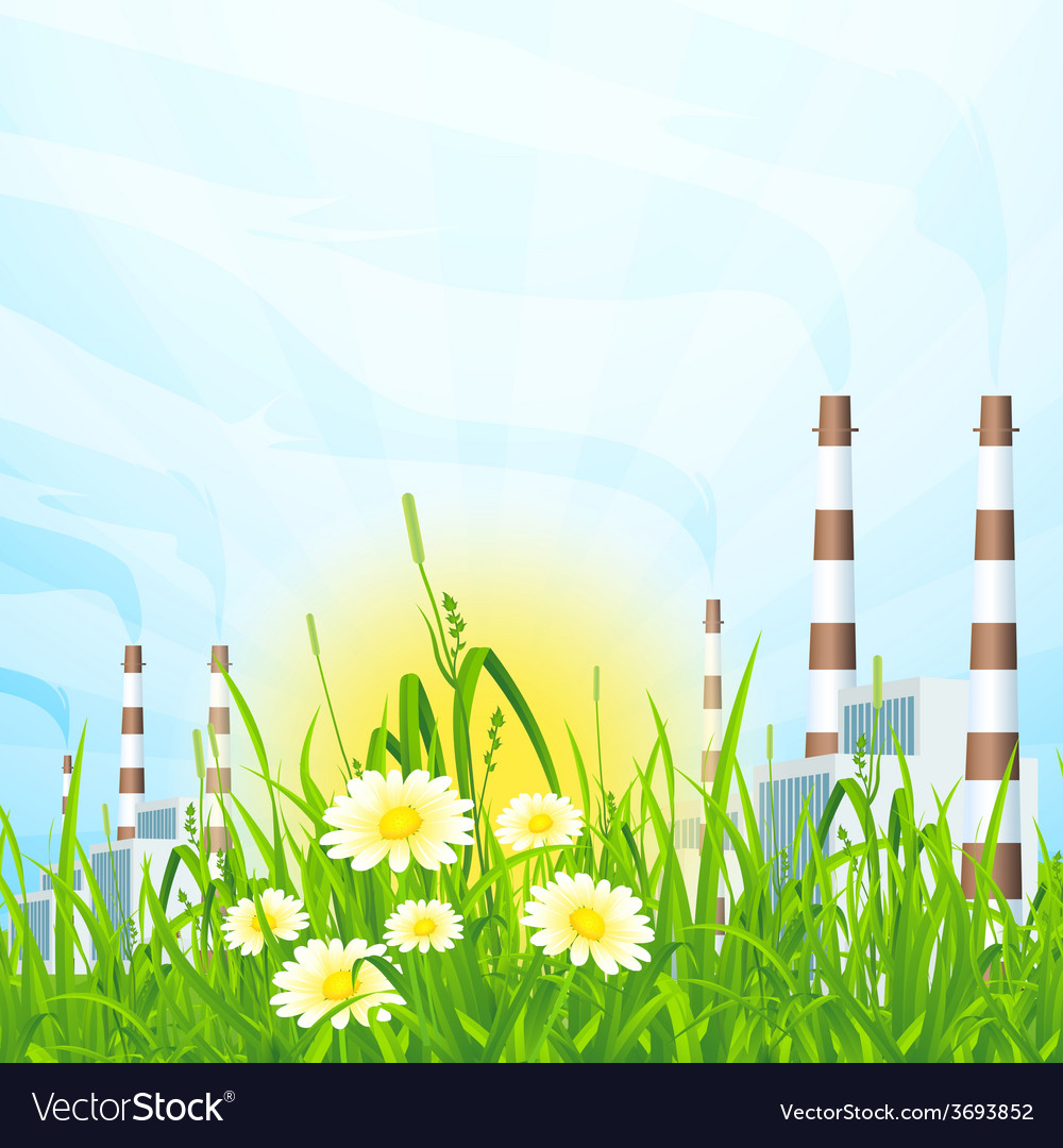 Green grass with power plant vector | Price: 1 Credit (USD $1)