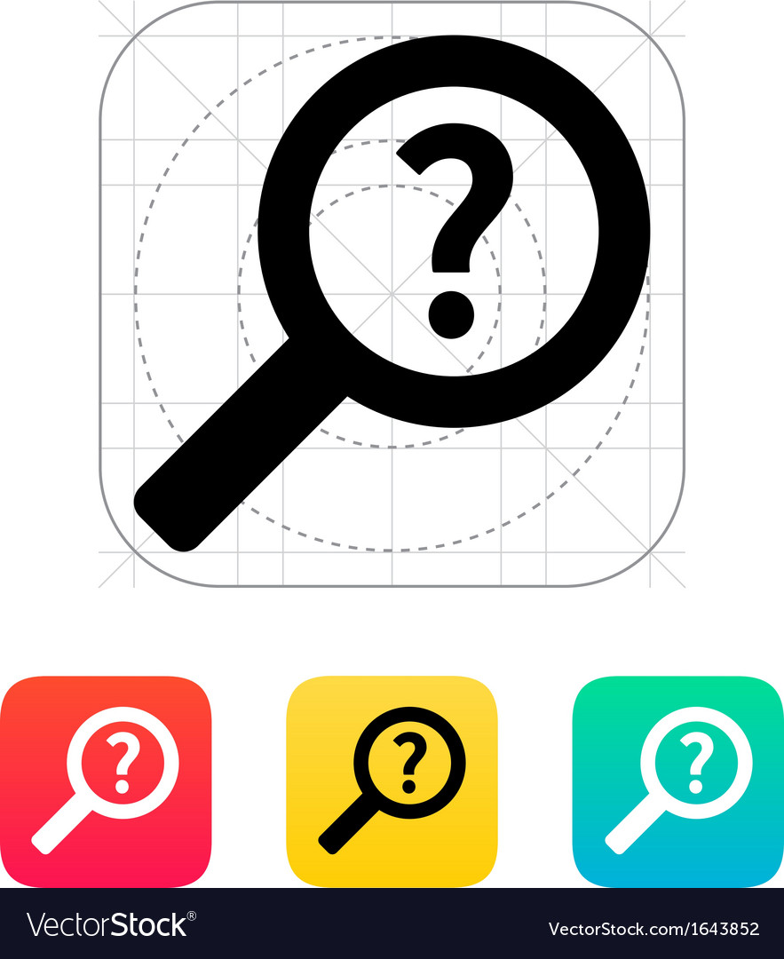 Help and faq search icon vector | Price: 1 Credit (USD $1)