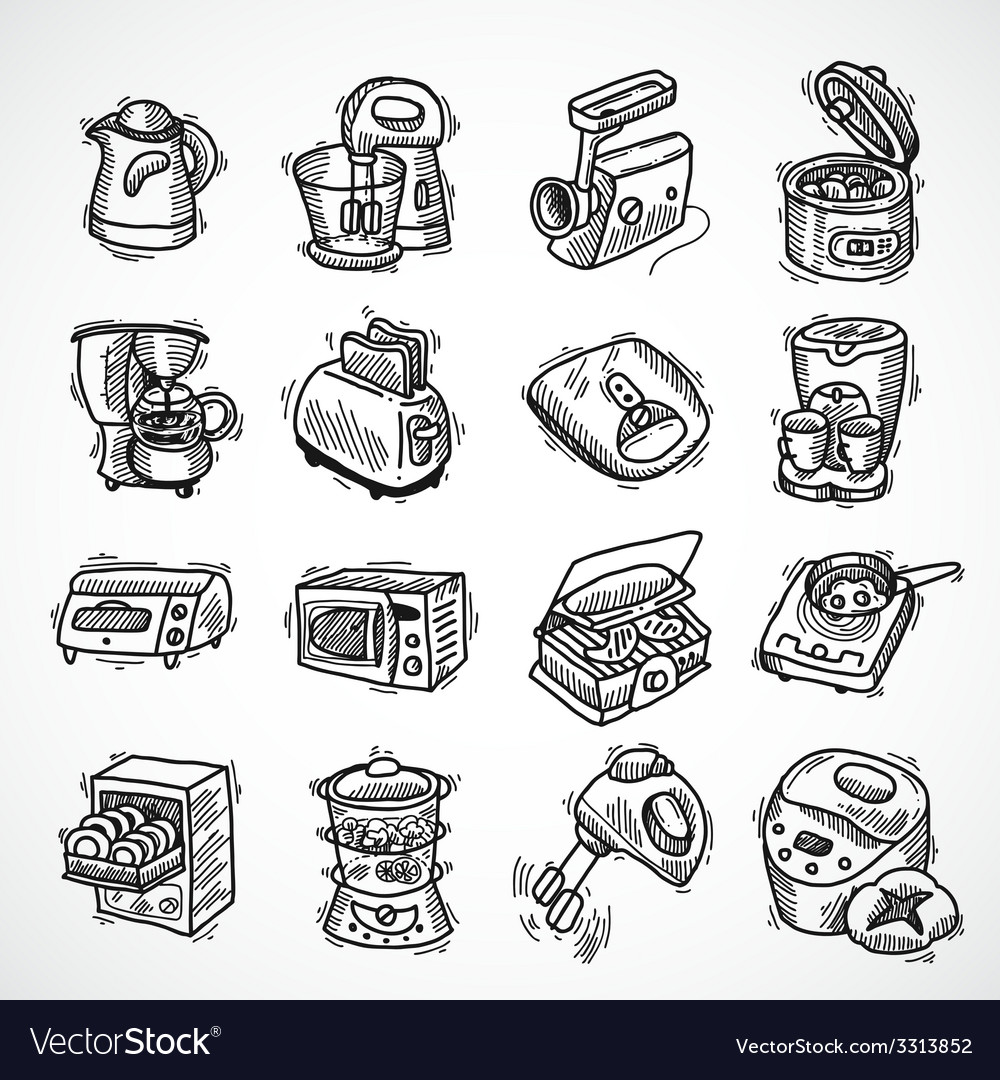 Kitchen equipment sketch vector | Price: 1 Credit (USD $1)