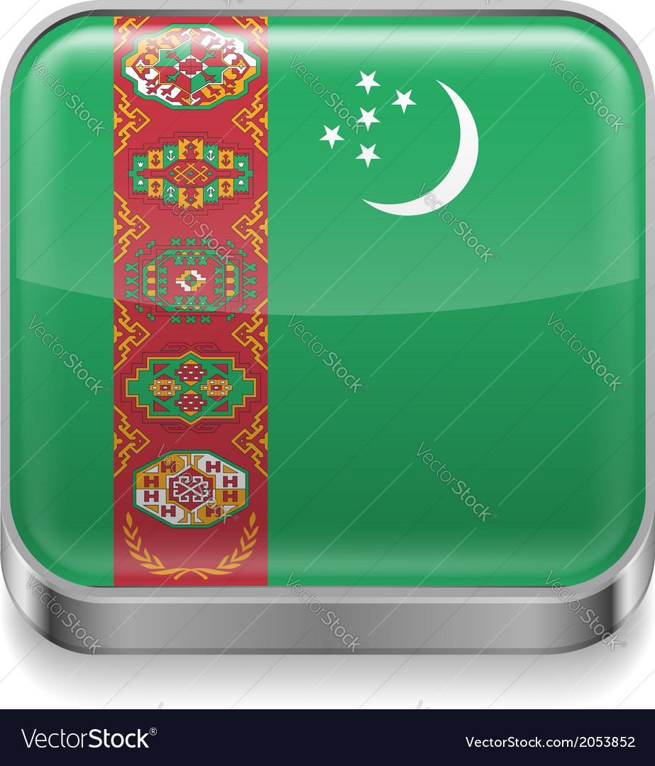 Metal icon of turkmenistan vector | Price: 1 Credit (USD $1)