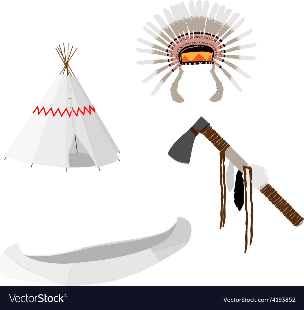 Native american set white vector | Price: 1 Credit (USD $1)
