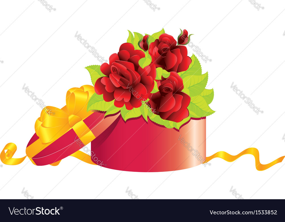 Roses in gift box vector | Price: 1 Credit (USD $1)