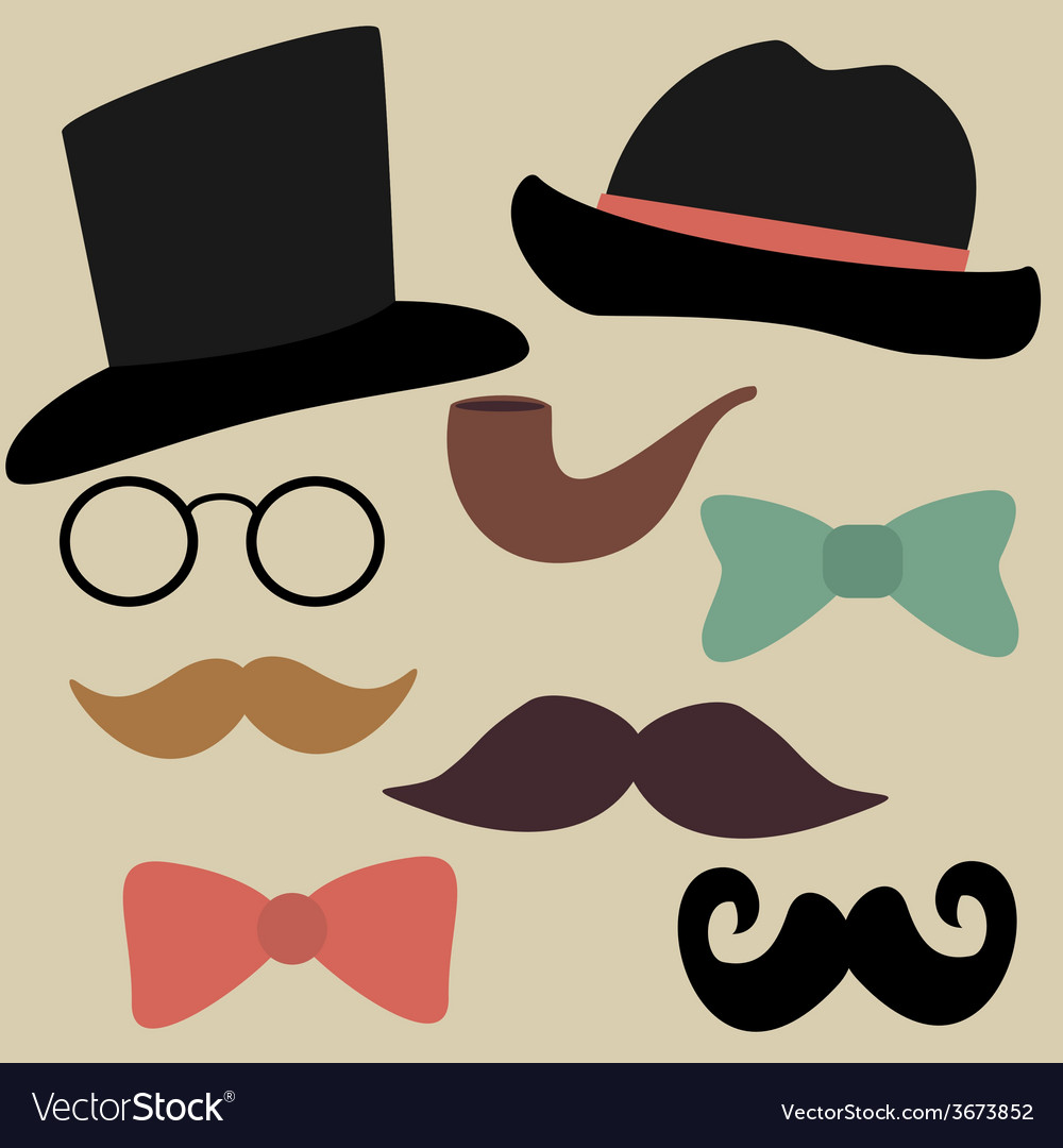 Set for gentelmens party glasses hats bow ties vector | Price: 1 Credit (USD $1)