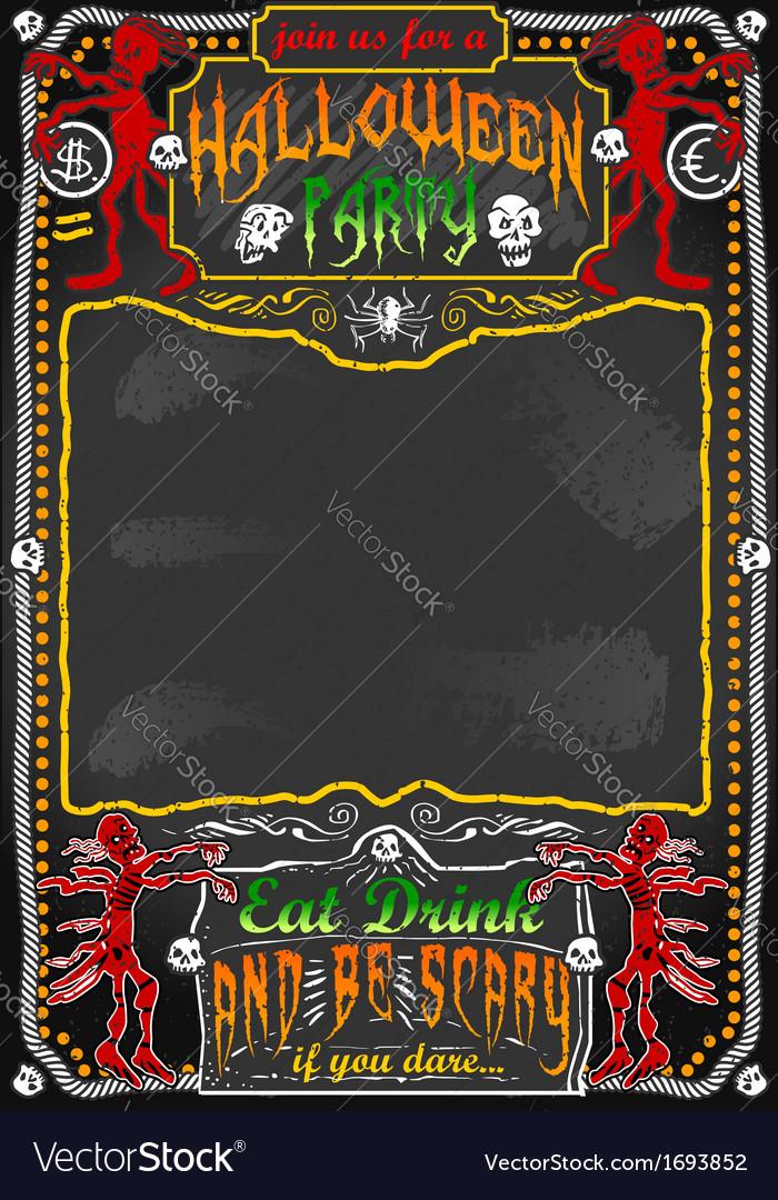 Vintage blackboard for halloween party vector | Price: 1 Credit (USD $1)