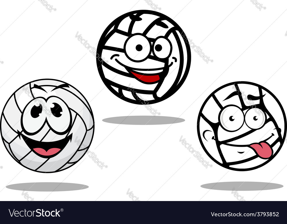 White cartoon volley balls characters vector | Price: 1 Credit (USD $1)