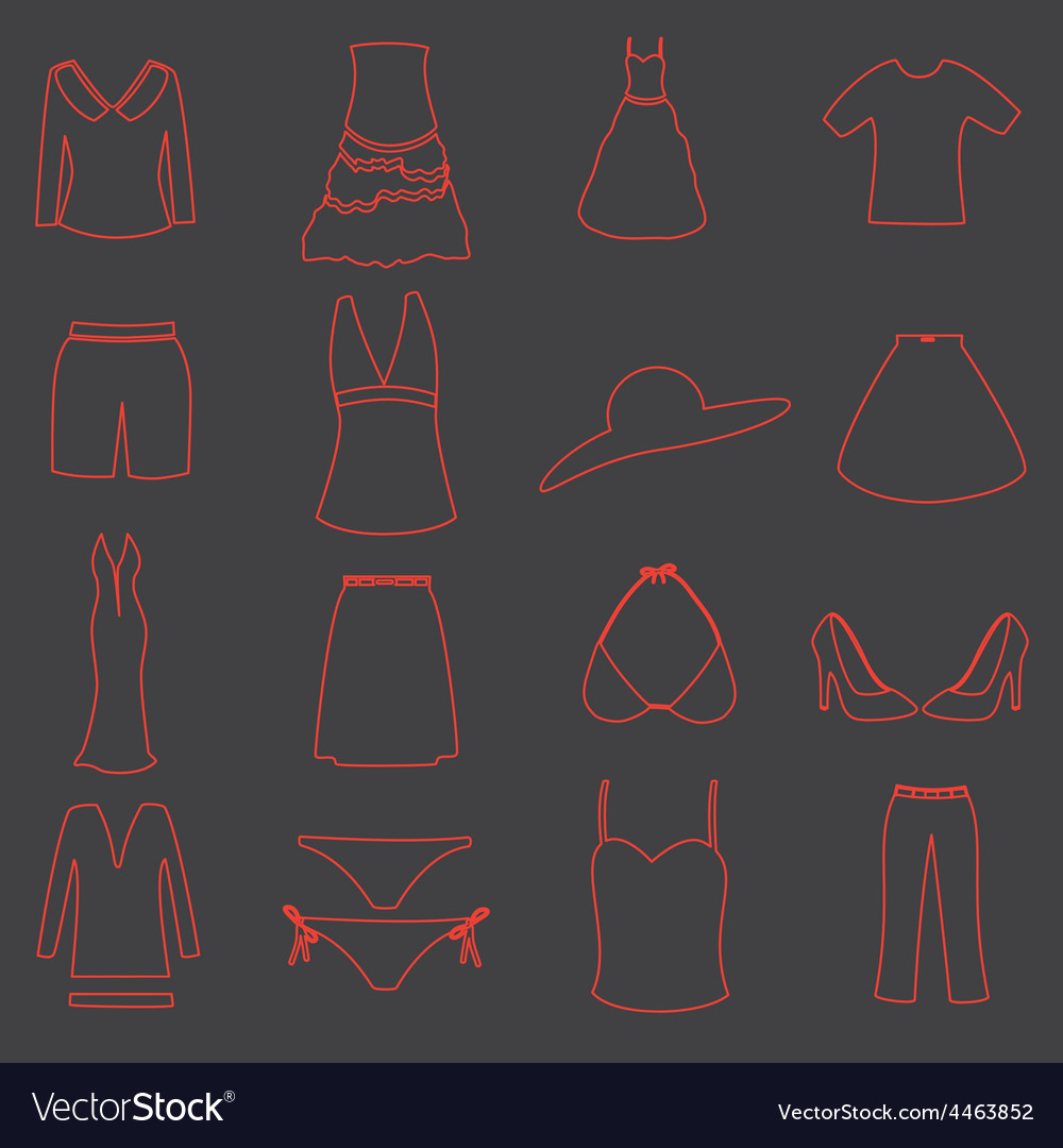 Womens clothing simple outline icons set eps10 vector   Price: 1 Credit (USD $1)