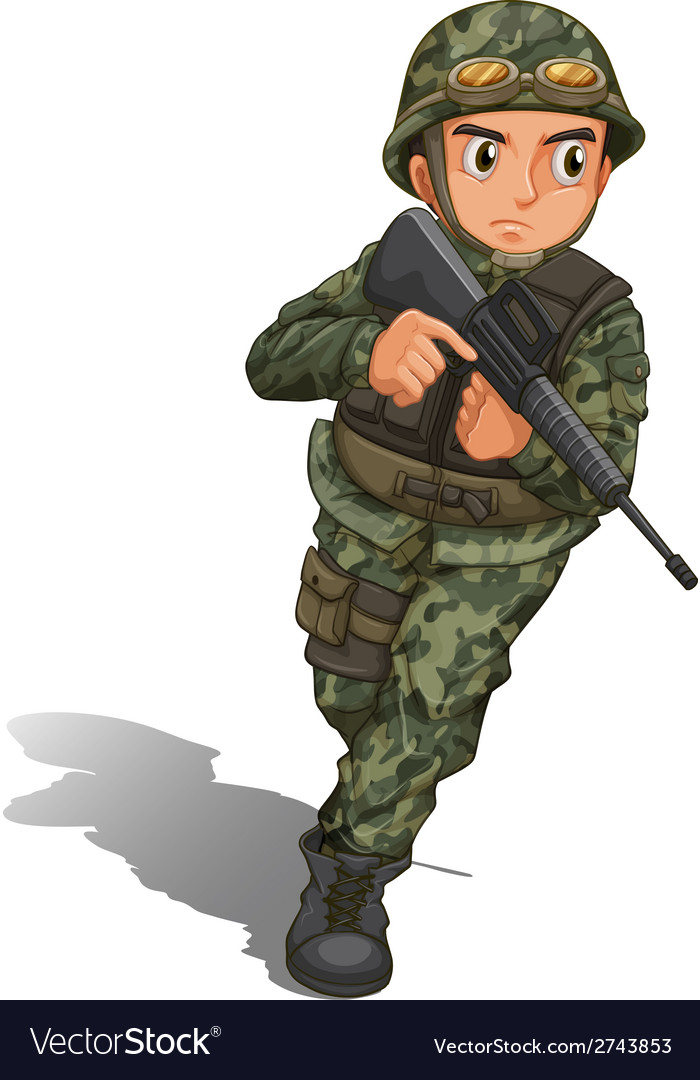 A soldier with a gun vector | Price: 1 Credit (USD $1)