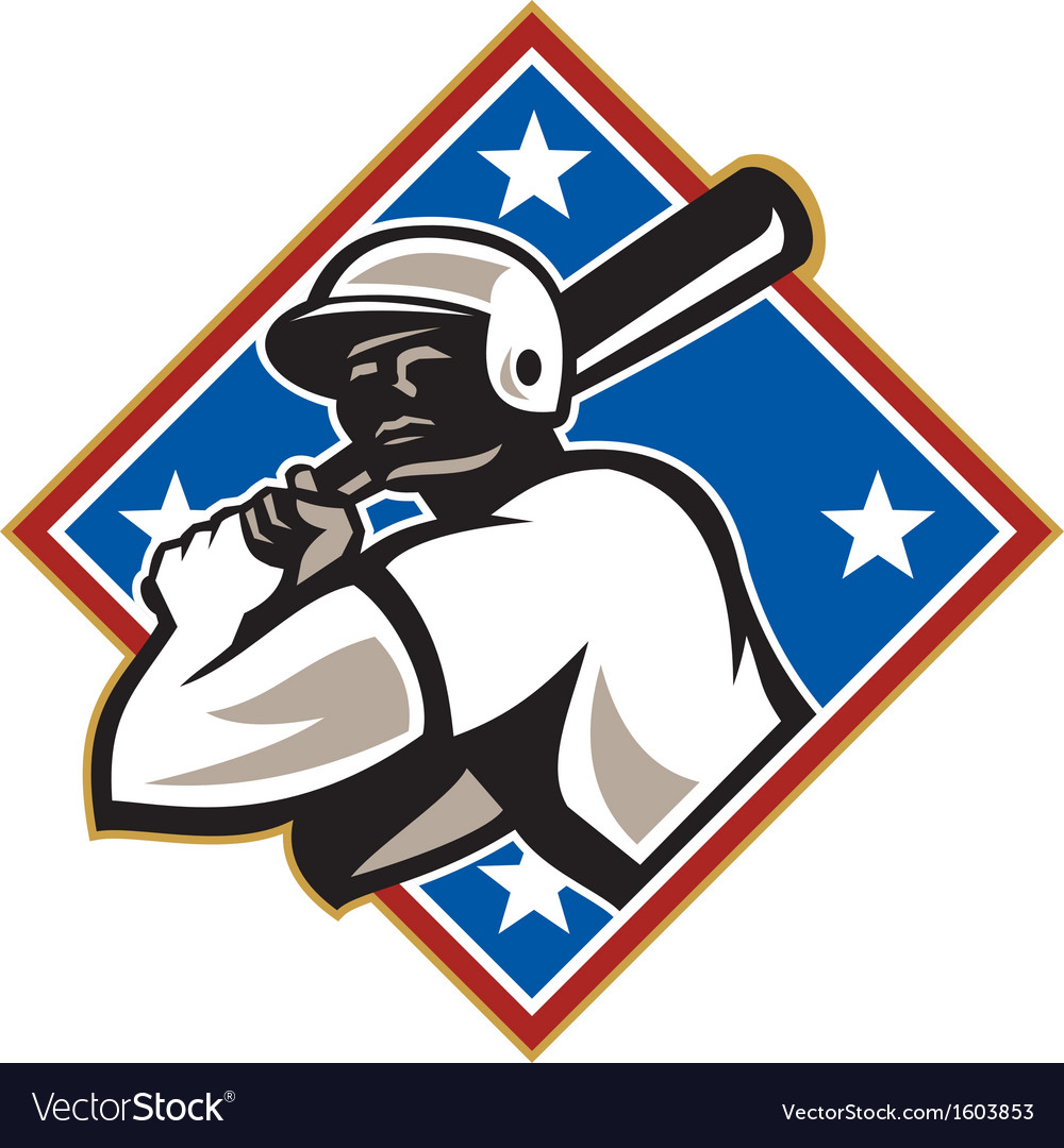 Baseball hitter bat diamond retro vector | Price: 1 Credit (USD $1)