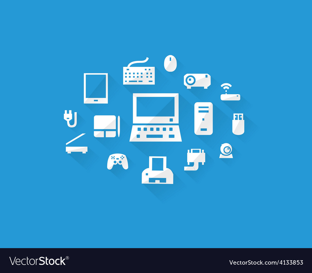 Blue computers device icons vector | Price: 1 Credit (USD $1)