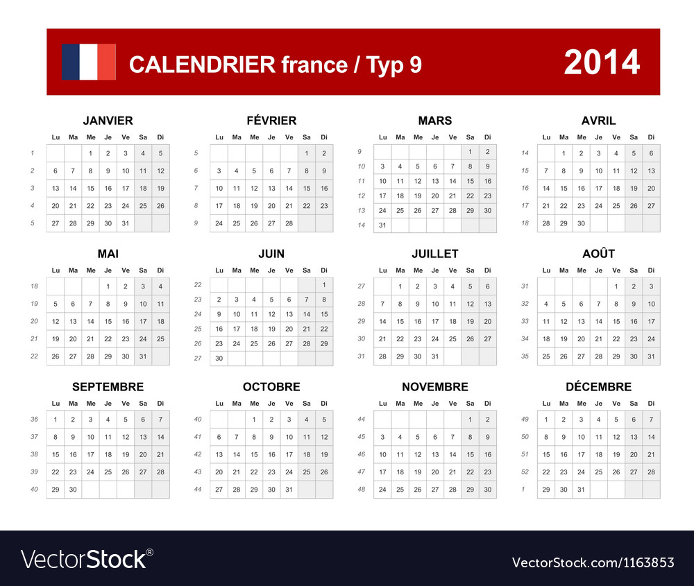 Calendar 2014 french type 9 vector | Price: 1 Credit (USD $1)