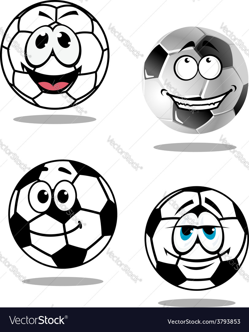 Cartoon soccer or football characters vector | Price: 1 Credit (USD $1)