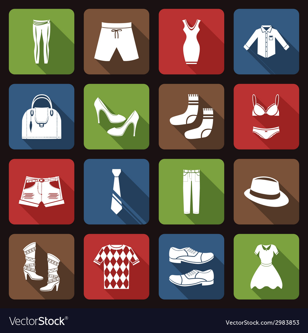 Clothes icons set flat vector   Price: 1 Credit (USD $1)