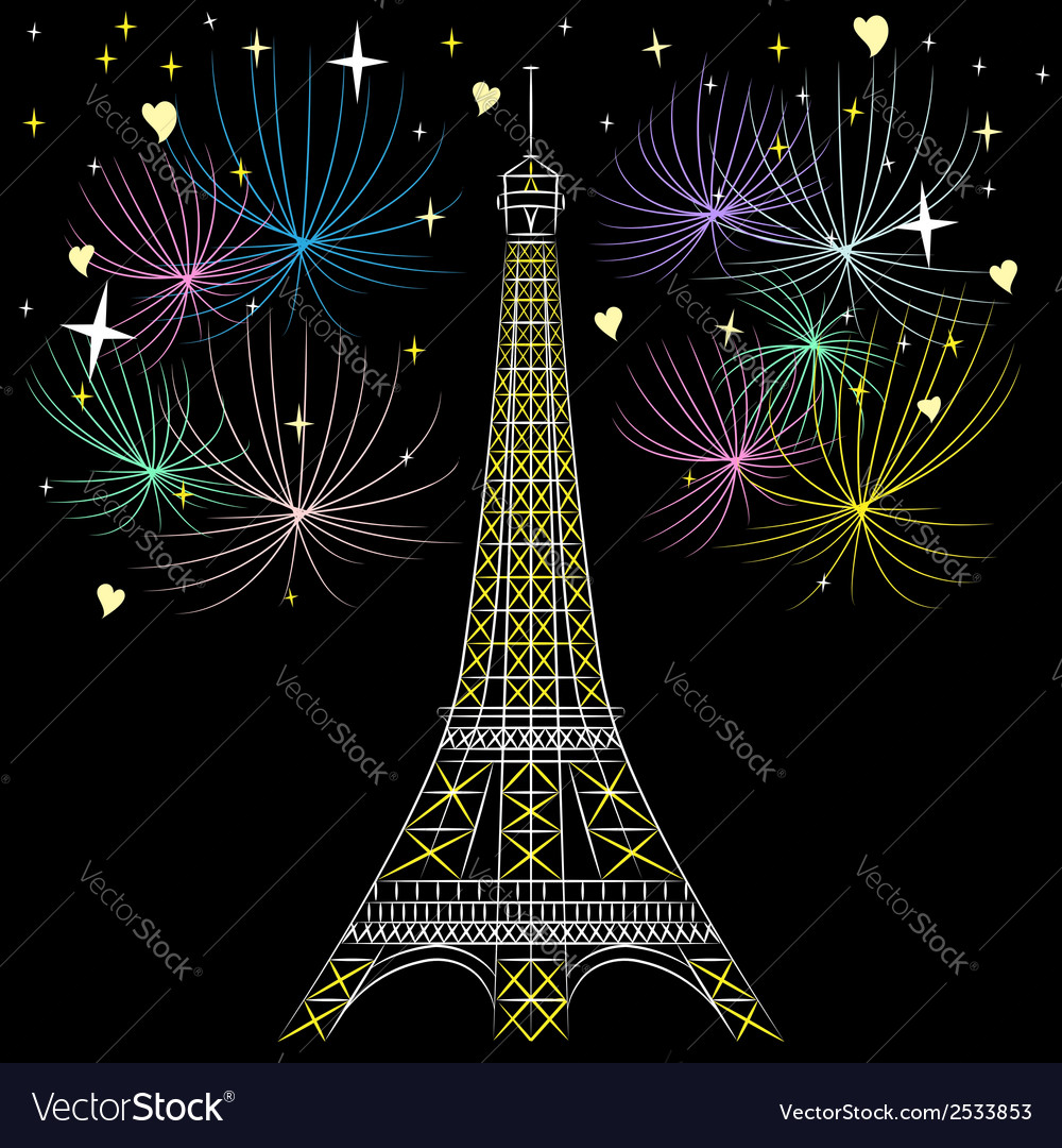 Eiffel tower in night vector | Price: 1 Credit (USD $1)