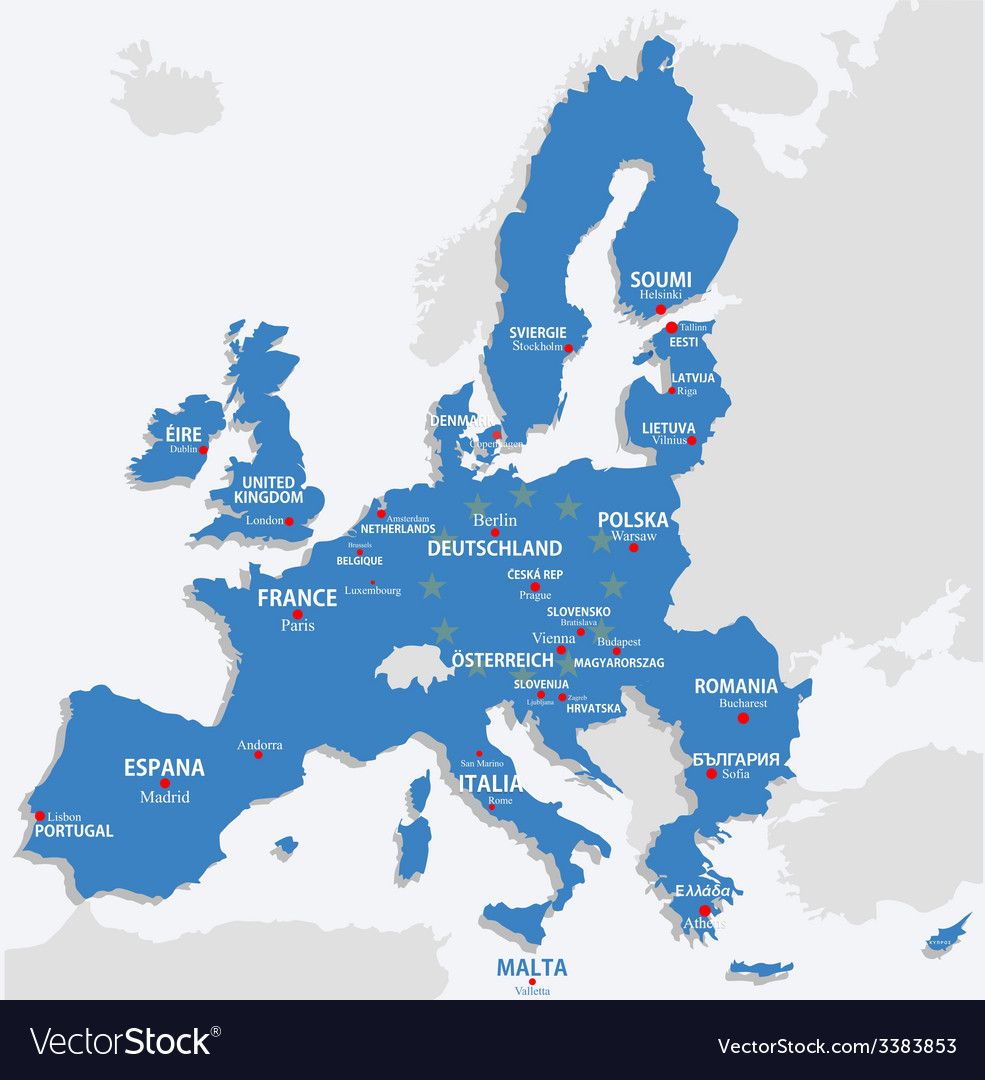 European union map with all europe countries and vector | Price: 1 Credit (USD $1)