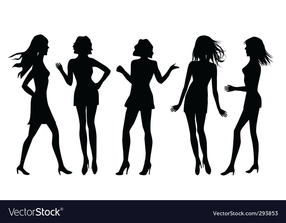 Female silhouettes vector | Price: 1 Credit (USD $1)