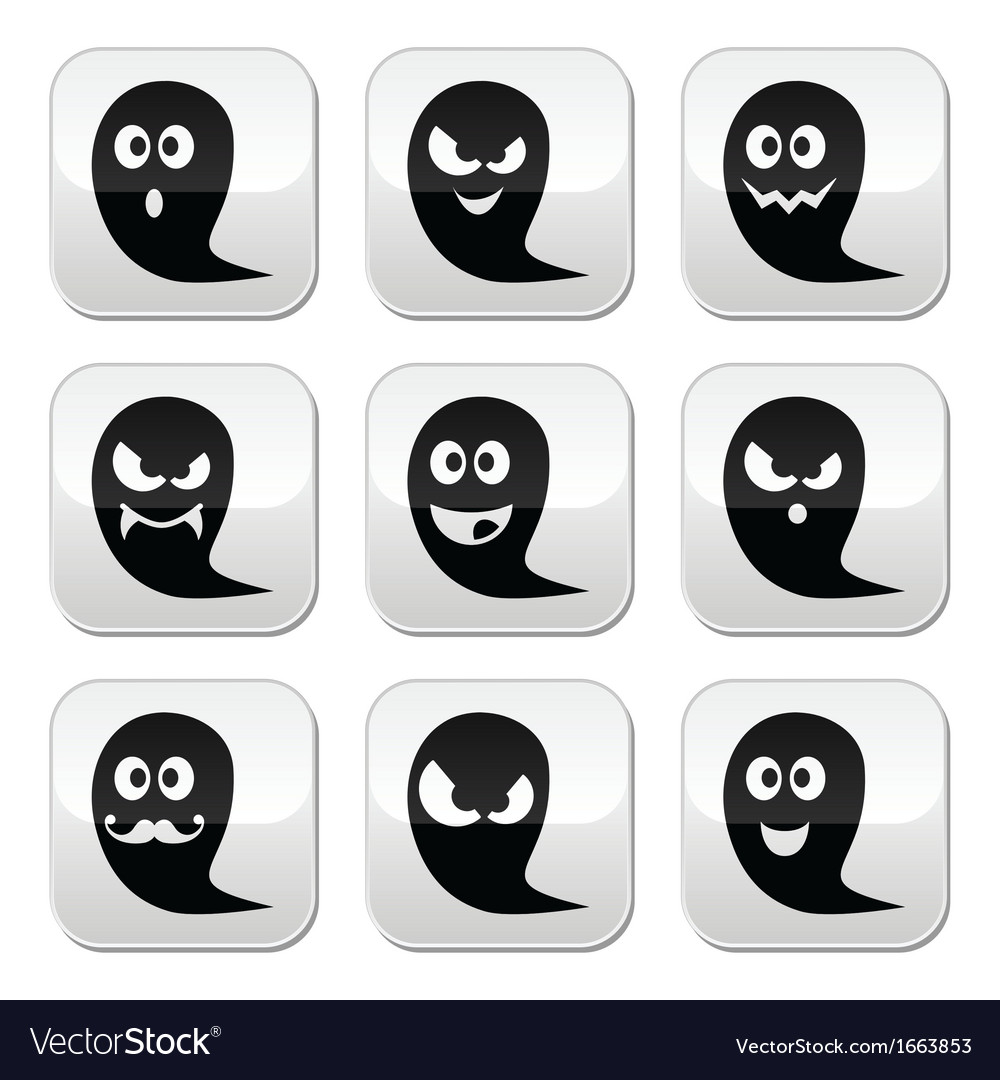 Halloween ghost buttons set - scary vector | Price: 1 Credit (USD $1)