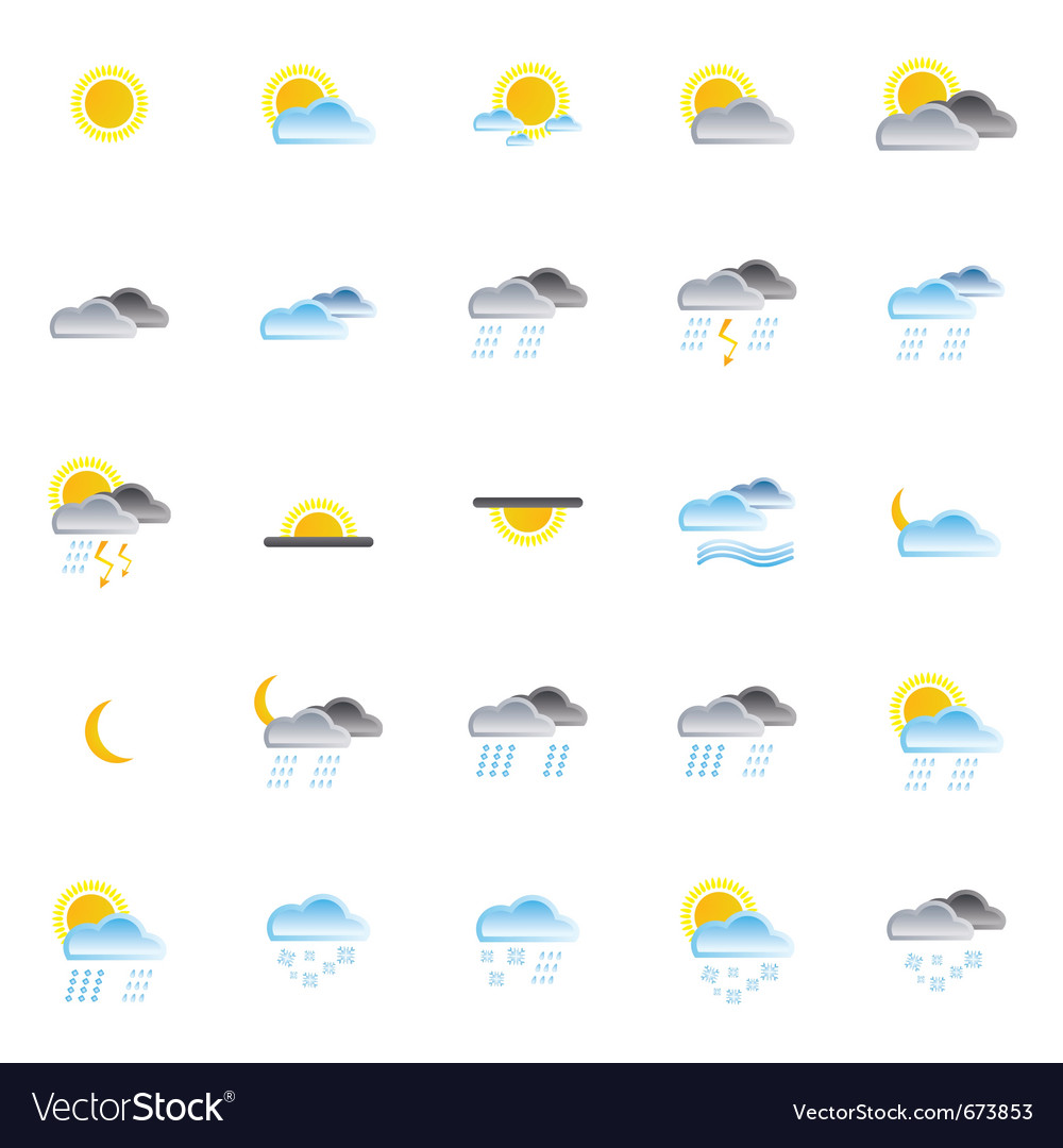 Nature and weather icons vector | Price: 1 Credit (USD $1)
