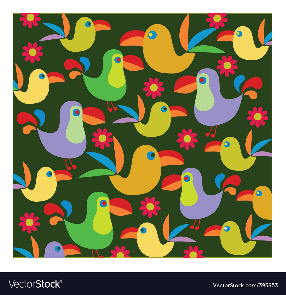 Tropical birds background vector | Price: 1 Credit (USD $1)