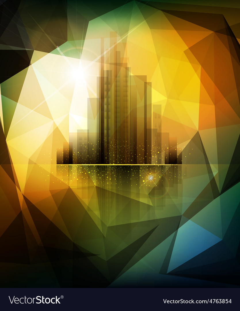 Banner for business with the city and reflection vector | Price: 3 Credit (USD $3)