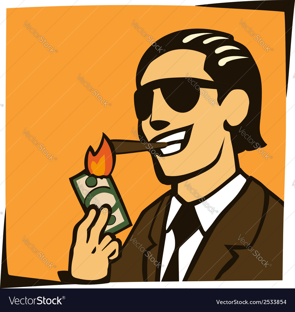 Businessman lights a cigar with dollar vector | Price: 1 Credit (USD $1)