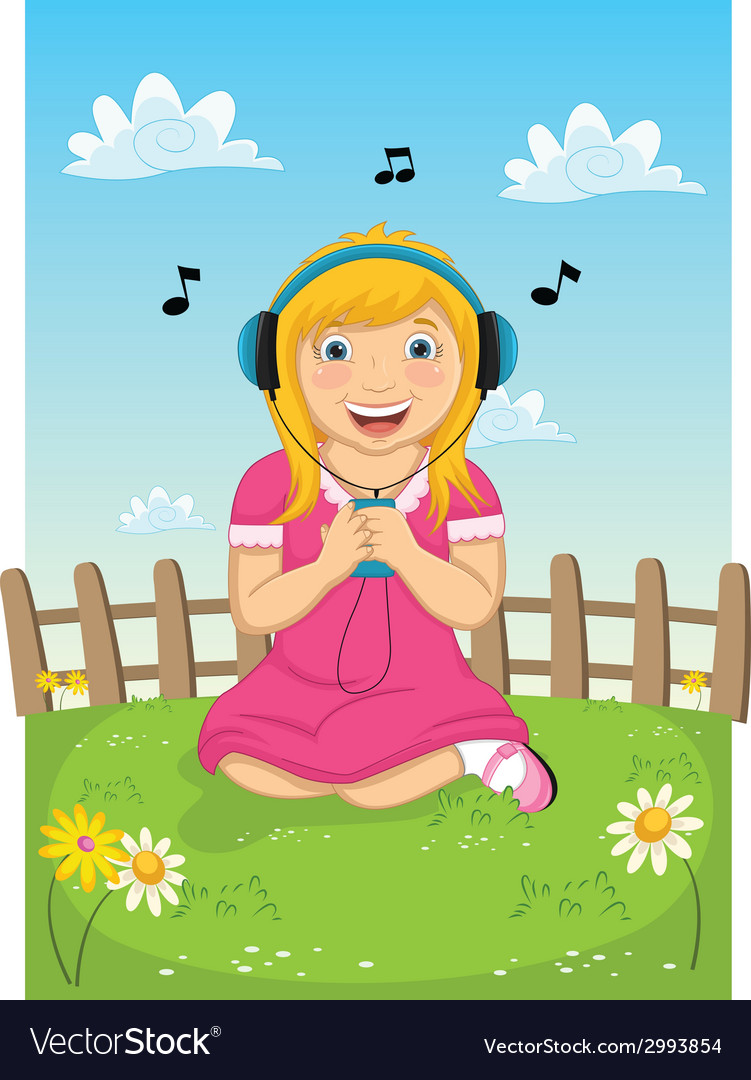 Girl listening music vector | Price: 1 Credit (USD $1)