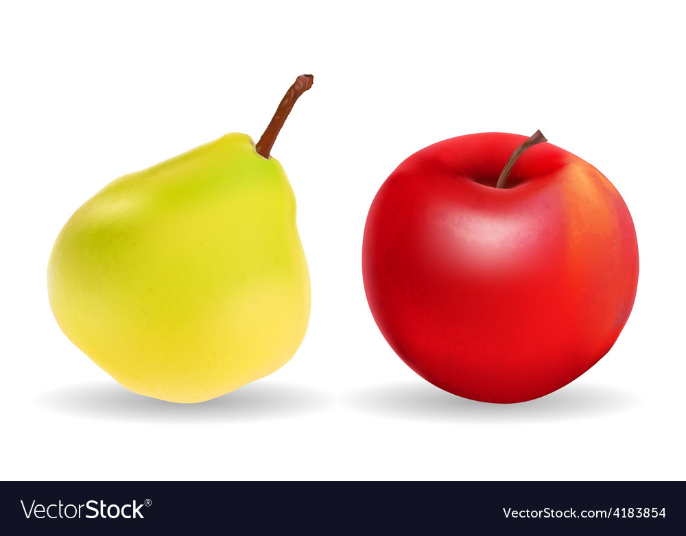 Green pear and red apple isolated on white vector | Price: 3 Credit (USD $3)