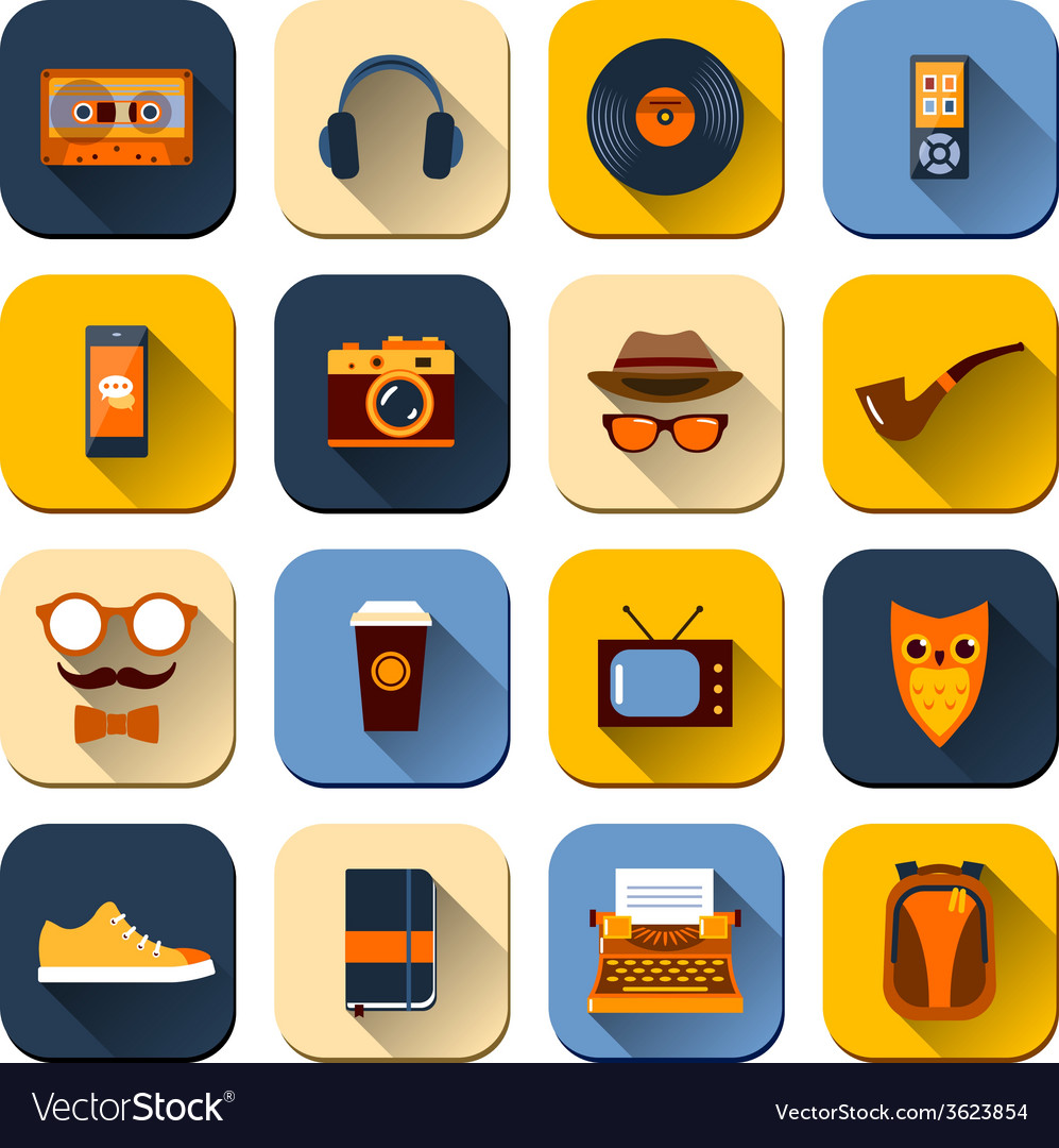 Hipster icons set vector | Price: 1 Credit (USD $1)