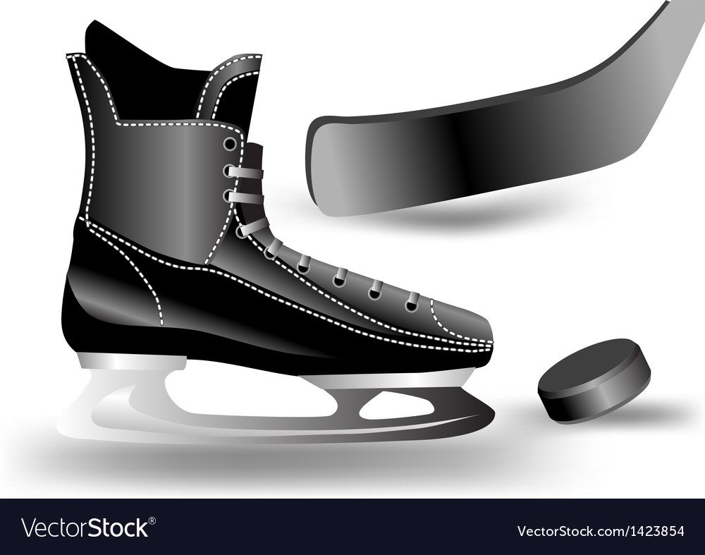 Hockey puck stick and skate vector | Price: 1 Credit (USD $1)