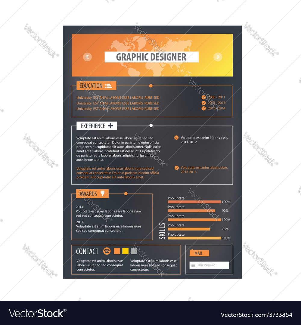 Resume template cv creative background vector | Price: 1 Credit (USD $1)