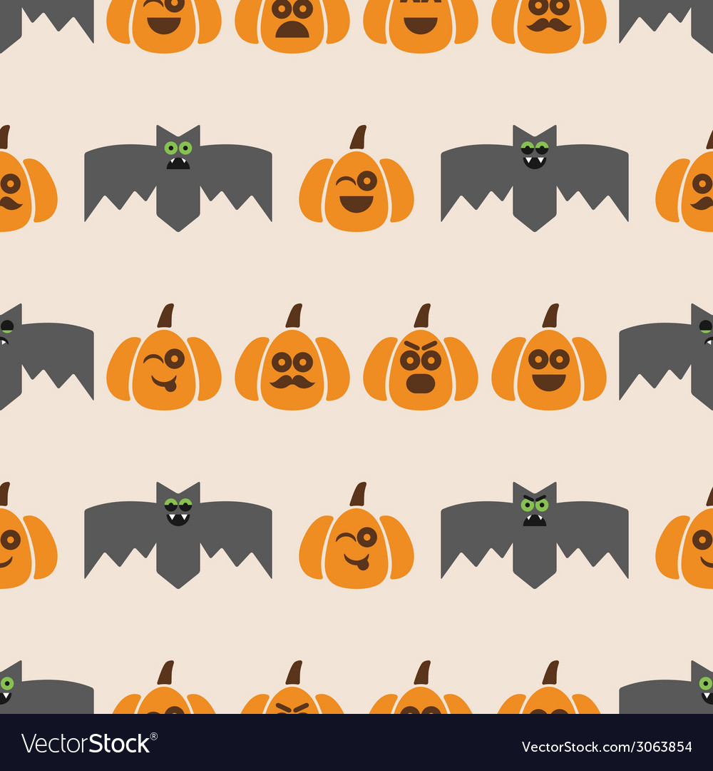 Seamless pattern of bats and pumpkins vector | Price: 1 Credit (USD $1)