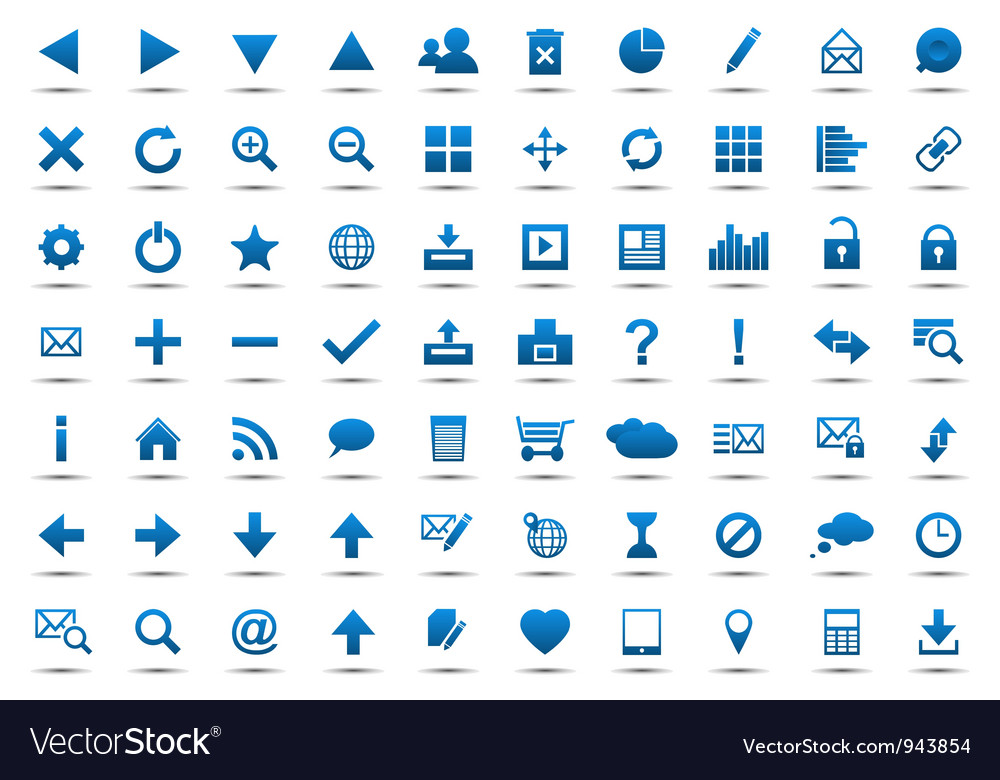 Set of blue navigation web icons vector | Price: 1 Credit (USD $1)